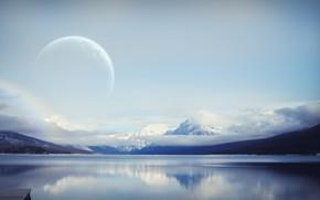 Вода, луна, облака, горы, небо
