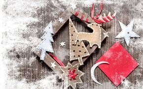 Vintage, jobbing, Ribbons, figures, board, paper, Deer, month, star, Tree, snowflake, frame, Christmas