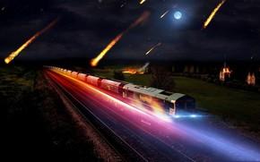 train, meteorite, night, lights, radiance