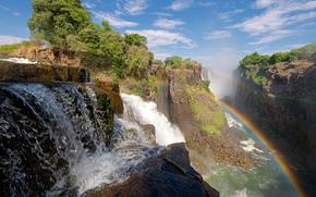 природа, радуга, водопад, Виктория, Южная Африка, Замбия и Зимбабве