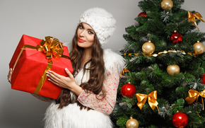 girl, brunette, makeup, cap, White, gift, box, red, Tree, Toys, Balls, Christmas, New, bows, New Year, Christmas, New Year