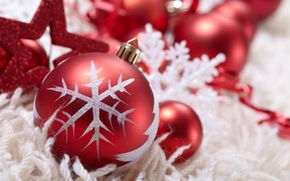 ball, red, snowflake, Balls, Toys, star, holiday, New Year, Christmas, New Year