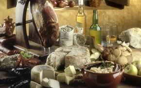 горшочек, бутылки, масло, сыр, мясо, сервелат, фасоль, яблоко, кувшин, хлеб