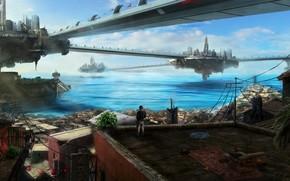 Art, city, roof, guy, future, building, bridge, sea, water