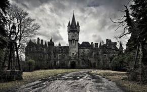 Замок, страх, черно-белый, лужи, грязь