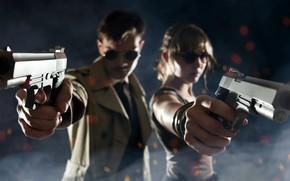 ragazza, tipo, Guns, arma, situazione