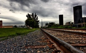 Thunderstorm, way, Rails
