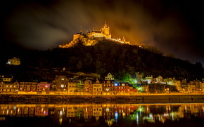 Germany, Castles (Fortress), home, River, cochem burg, night