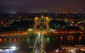 france, Paris, night, river, park, fountain, Trees, bridge, home, lights, panorama.