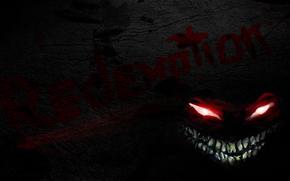 daemon, burning eyes, grin