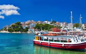 Grecia, mare, Barche, natura, cielo, nuvole, casa