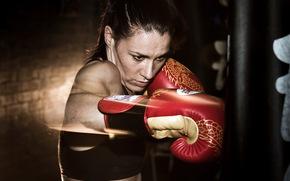 Sport, box, girl, training