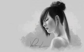 арт, девушка, монохромное, черно-белое