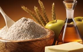 apples, mortar, oil, cereals