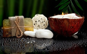 spa, soap, candle, coconut