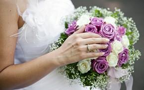 Bouquet da sposa, anello, mano, Roses