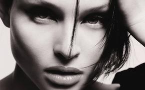 Sophie Ellis-Bextor, girl, singer, brunette, portrait, black-white, eyes, lips, face