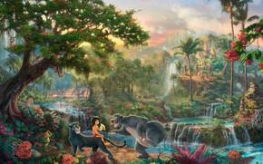 painting, animated cartoon, film, Disney, jungle, Mowgli, tiger, Sher Khan, panther, Bagheera, Papa Bear, Baloo, Flowers, waterfalls, Palms, Monkey, village, houses