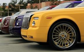 Rolls Royce, Phantom, yellow, purple, red, Other brands