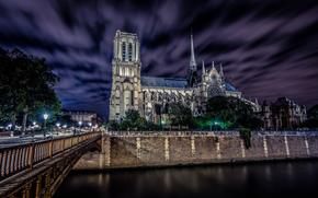 Francia, Parigi, notre dame de paris, Francia, Parigi, Notre Dame, Notre Dame de Paris, citt, notte, cielo, ponte, strada, persone, semaforo, Panche, fiume, Senna, fieno