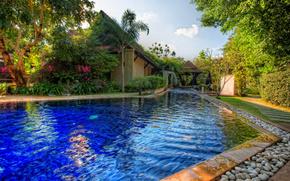 albergo, case, piscina