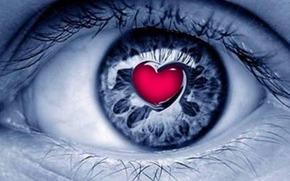 Auge, Herz, Wimpern, Auge, Rot, Blau, Herz