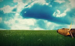 небо, зелень, облака, самолет, настроение