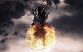 艺术, 球, 球, 死亡, 编织, 宝座, 火, 云, 天空