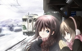 girls, platform, metro, train, snow, Winter, Scarf, cold
