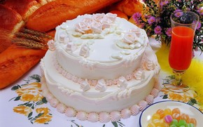 cake, Cake, sweet, cream, Rose, juice, goblet, Flowers, flower, candy, Sweets, rye, wheat, cereals, bread, bread