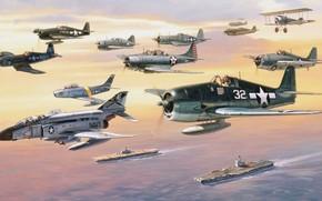 самолеты, разных, эпох, ВВС, в, небе, океан, авианосцы.