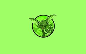 range, green, gremlin, monster, minimalism, smile