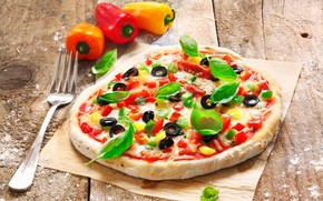 fork, dough, pizza, olives, tomatoes, peppers, cheese