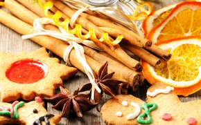 orange, slices, cookies, star anise, cinnamon