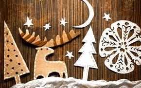 Deer, snowflake, Trees, Star, month, board, jobbing