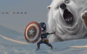 арт, снег, медведь, щит