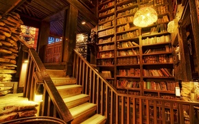 biblioteca, Libros, Luz, escalera, vidriera