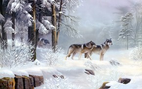 painting, animals, Wolves, Winter, cold, Frosty, Morning, forest