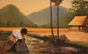 painting, picture, Cambodia, fisherman, boy, fishing