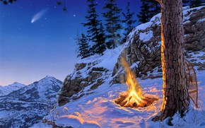 painting, landscape, late evening, night, Mountains, bonfire, pine, spruce, Star, Shooting Stars, snow, Winter