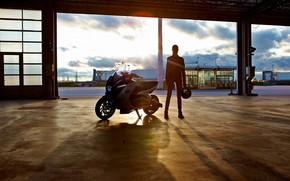 ragazza, silhouette, hangar, motocicli