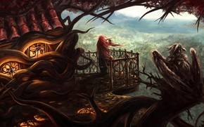 Art, home, tree, the roots, girl, pipe, music, musical instrument, height, wind, balcony, bird, griffin