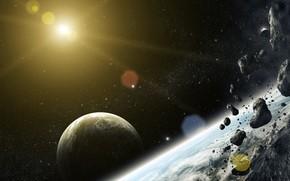 Arte, spazio, Pianeta, Meteoriti, pietre, stella