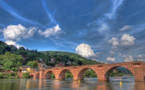 heidelberg, germany, neckar, Хайдельберг, Германия, река, Неккар, мост
