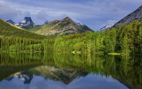 Канада, Альберта, Калгари, Национальный Парк, горы, деревья, небо, облака, озеро, отражение