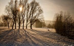 invierno, nieve, paisaje