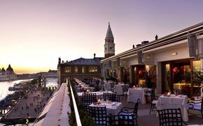 Hotel, Restaurant, Tabellen, Himmel, Tabelle, Sonnenaufgang, Meer, Wolken, Venedig, Morgen, schn, sehen, Hotel, romantisch, Schn, Guten Morgen, Italien, Architektur, Romantik, Terrasse,