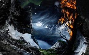 night, tree, face, fire, radiance, river