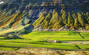 waterfalls, Mountains, akureyri iceland