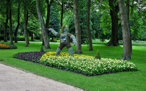 park, grass, greens, Trees, Flowers, bed, statue, spear